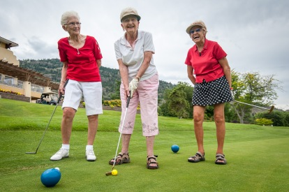 Many charter members of the Osoyoos Golf Club turned out on Friday to celebrate the club's 40th anniversary. These three ladies were with the club since its earliest days. Fran Engel (left) joined shortly after the club started, while Ethel Van Duzee (centre) and Barb Snyder are charter members. Van Duzee is still golfing at the ripe age of 91.